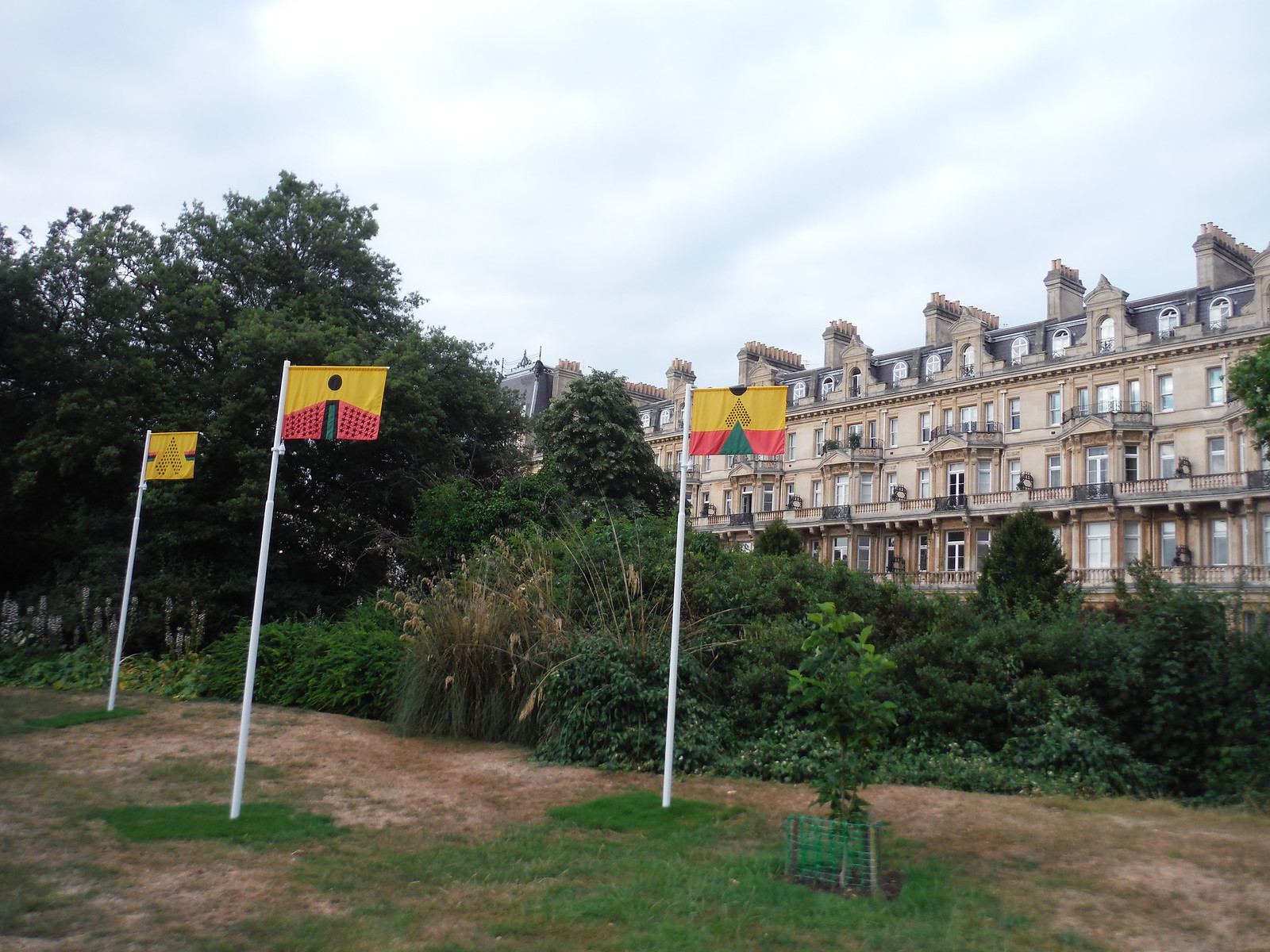 Frieze Sculpture Park 2018: Larry Achiampong, 'PAN AFRICAN FLAGS FOR THE RELIC TRAVELLERS' ALLIANCE' SWC Short Walk 6 - Regent's Park and Primrose Hill