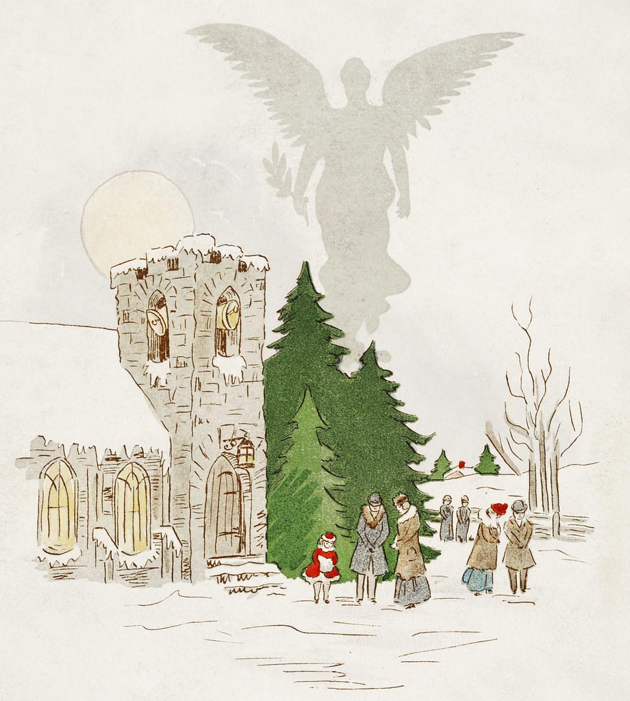 Vintage Christmas Illustrations.Vintage Christmas Scene Illustration Of A White Christmas