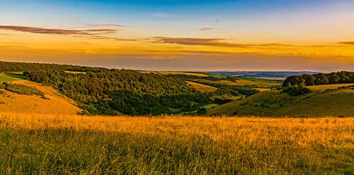 valley landscape dorset fontmell melbury downs shaftesbury cranborne chase sunset view vista nikon july 2018