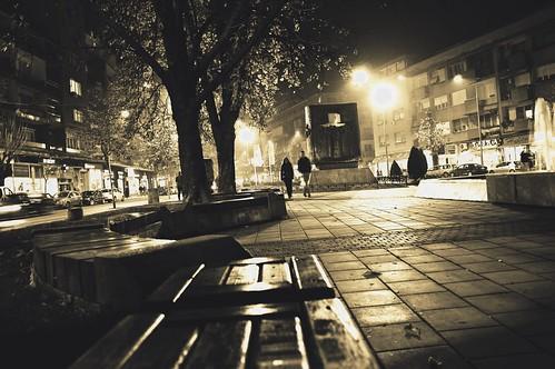 tree park square fountain city krusevac night dark black white midnight camera nikon d3200