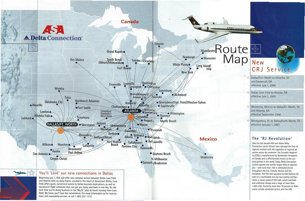 ASA Delta Connection route map, 2000 | The ASA (Atlantic Sou… | Flickr