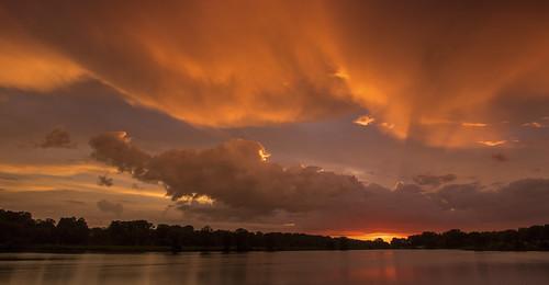 2018 july kevinpovenz westmichigan michigan jenison ottawa ottawacounty maplewoodpark sunset sun clouds lake pond red evening outside outdoors canon7dmarkii sigma1020 settingsun eveningsky dusk
