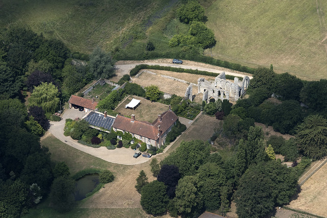 Aerial of Creake Abbey in Norfolk