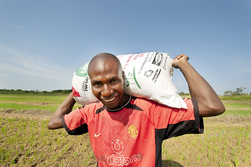 Farmer with a bag of fortifer in Kpong Irrigation Scheme, Asutuare in Ghana.