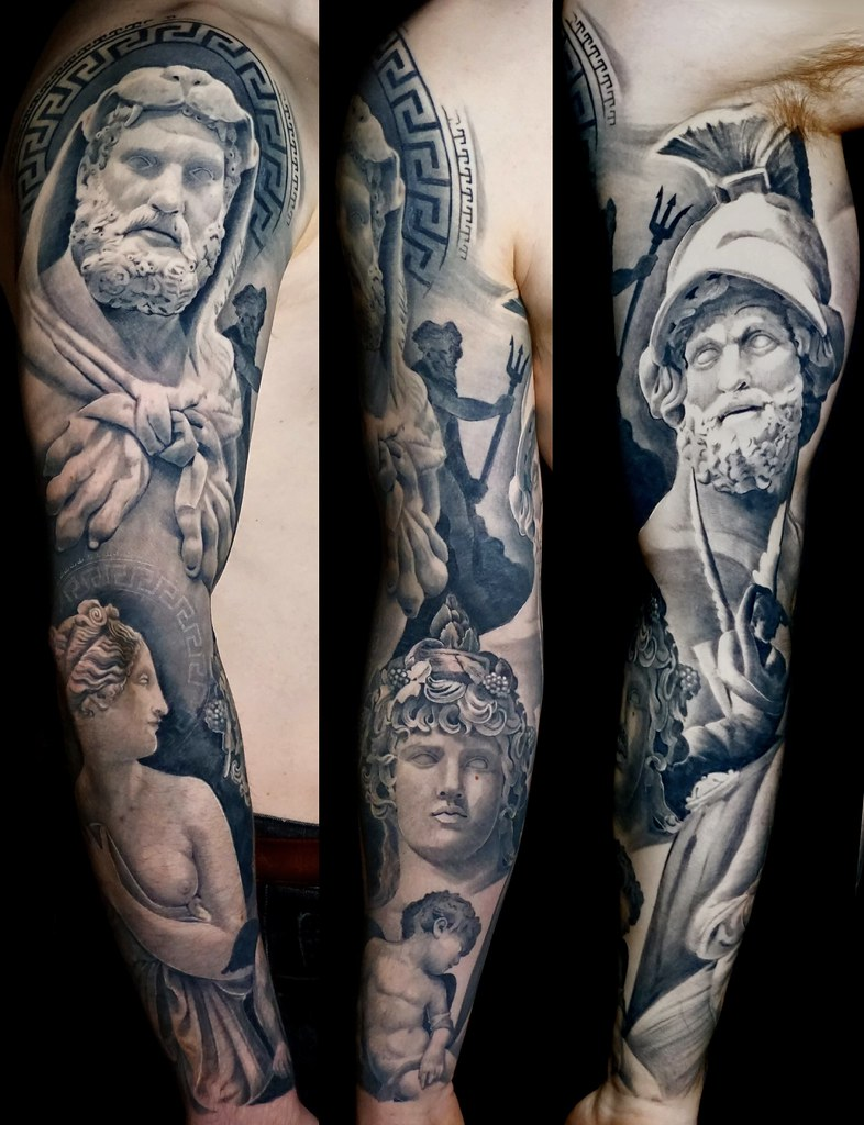 Black And Grey Full Sleeve Tattoo Ancient Greek And Roma