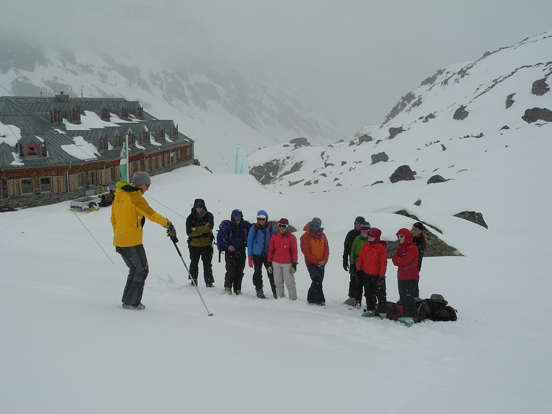 Transceiver training at the Jamtal. On bad weather days, we can still make the day a full one!