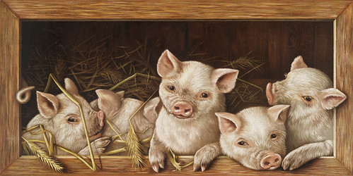 The Prize Piggies (Christmas and New Year card) (1891) lithographed by L. Prang & Co. | by Free Public Domain Illustrations by rawpixel