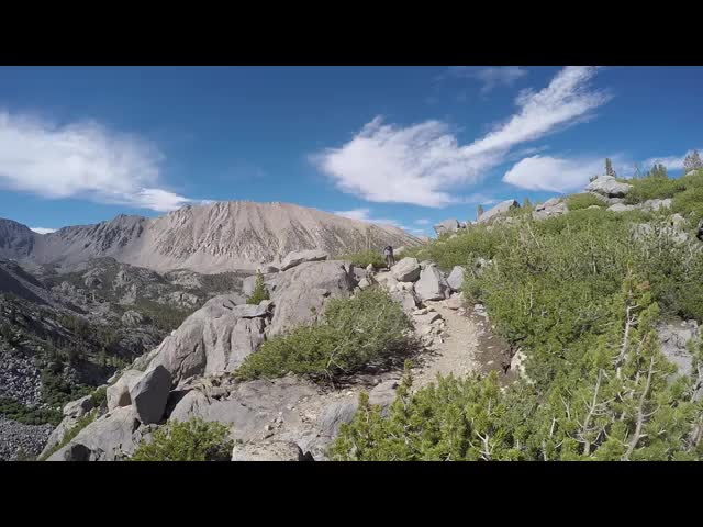 0700 GoPro panorama video of Sam Mack Meadow from high above it on the Palisade Glacier Trail