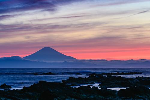 横須賀市 神奈川県 日本 jp mtfuji dusk mountain sea clouds waves japan kanagawa yokosuka orange blue rocks