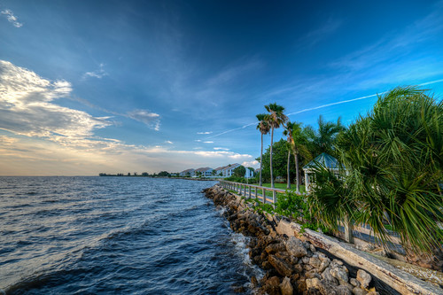 littleharbor ruskinflorida water tampa bay tampabay coast palm sunset fl fla