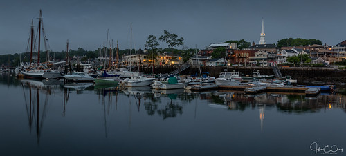 newengland fog midcoastregion sunrise panoramic camden pier bay me harbor boat reflection maine jclay ocean