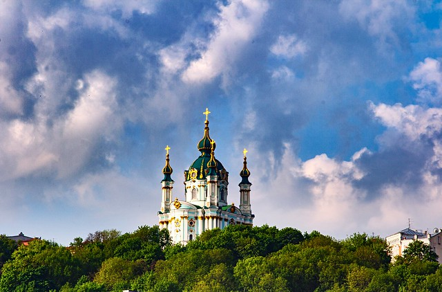 The Saint Andrew's Church is located over Podil at the Starokievsky mountain.