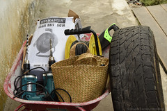 Wheelbarrows loaded up with enrichment tools, equipment, and supplies