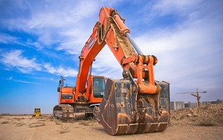 Low Angle Photography of Orange Excavator Under White Clouds - Credit to http://homedust.com/ | by Homedust