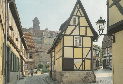 oldlantern beautifulhalftimberedhouses stiftquedlinburg cobblestones sky
