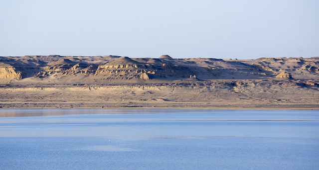 The hills of Egypt's Lake Qaron in Fayoum