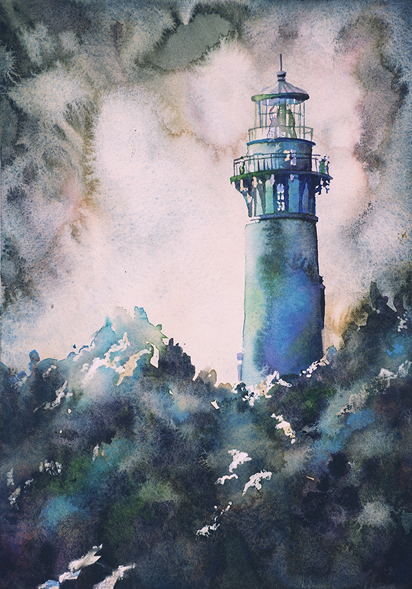 Watercolor painting of Currituck Lighthouse in the Outer B
