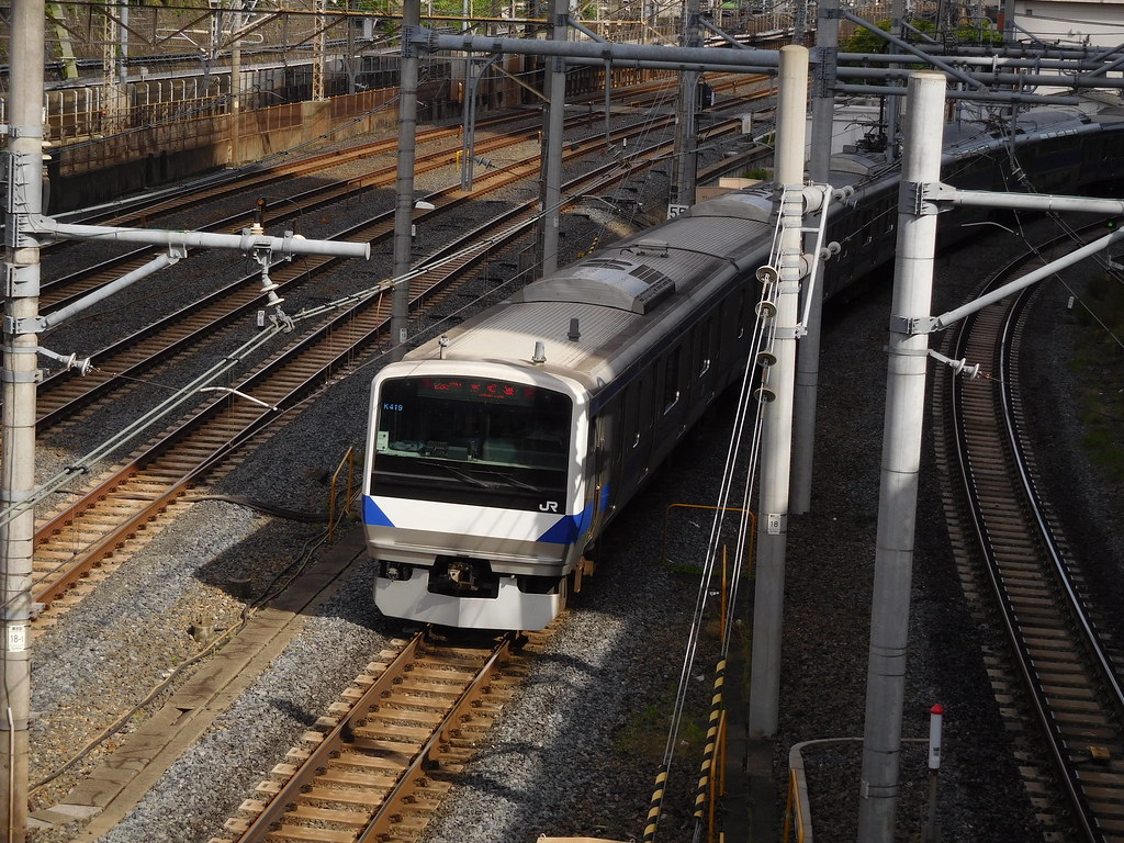 Joban Line E531 series train departs Nippori Station, Nippori, Arakawa-ku, Tokyo, Japan