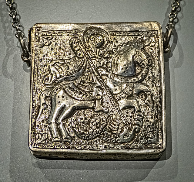 Eastern Christian Necklace with a compartment for magical text Ottoman Mesopotamia or Egypt 18th to 19th century CE Silver