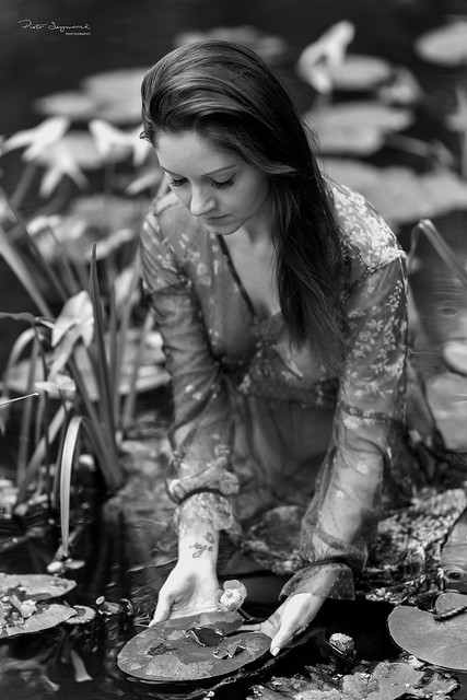 Nymph picking flowers