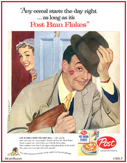 Post - 40% Bran Flakes  start day right  1957