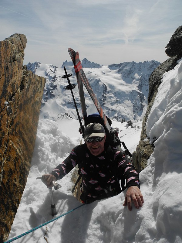 Ski mountaineering! The scramble over the Gran Serra is a bit alpine. Skier: John Thomson
