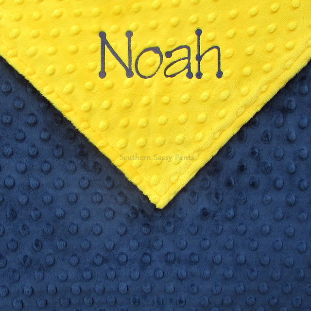 Navy and Yellow Baby Boy Blanket