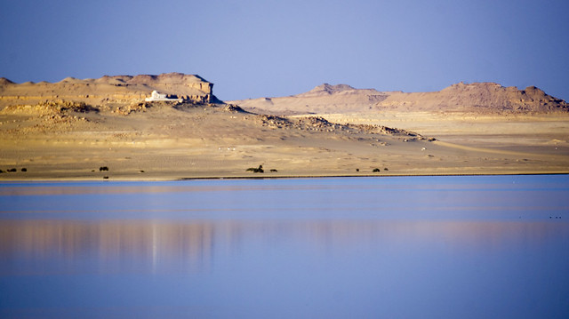 A building overlooking Egypt's Lake Qaron in Fayoum
