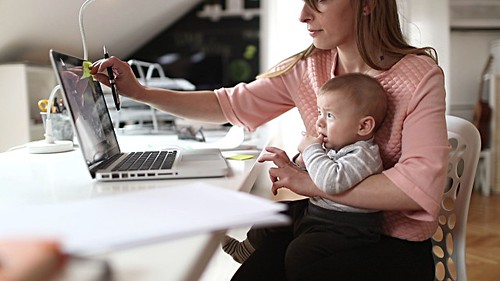 Mom working from home- Credit to https://www.lyncconf.com/ | by nodstrum