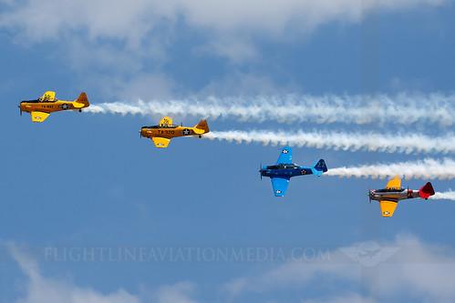 columbus airforce base afb cbm kcbm airport mississippi airshow northamerican texan warbird formation n36ca n73rr n4996h n7197c 4977791 t6 airplane aircraft