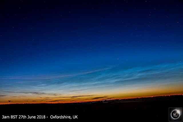 Noctilucent Clouds from Oxfordshire, pre-dawn 27th June 2018