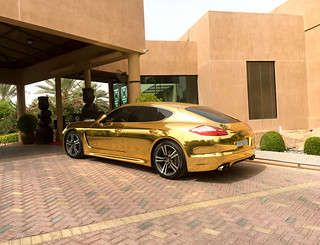 Car covered in gold