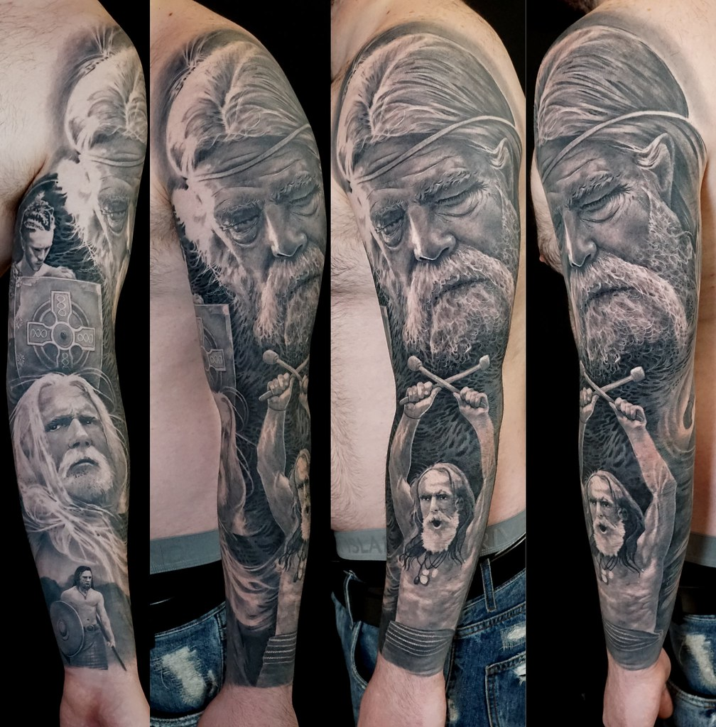 Black And Grey Full Sleeve Tattoos Of Irish Celtic Warrior