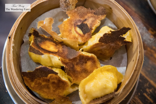 Shrimp, bacon and orange slice jiaozi (餃子) dumplings