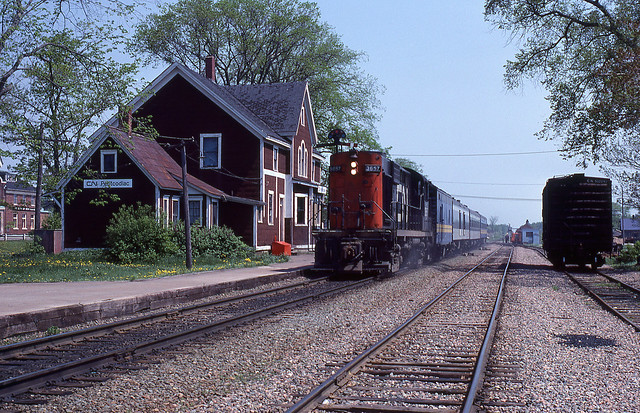 CN Canadian National RS18 #3657 on No 612 Petticodiac, NB 05-29-78