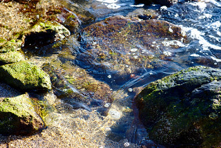 Water on rocks, Glass Beach, Hanapepe | by aenigmatēs