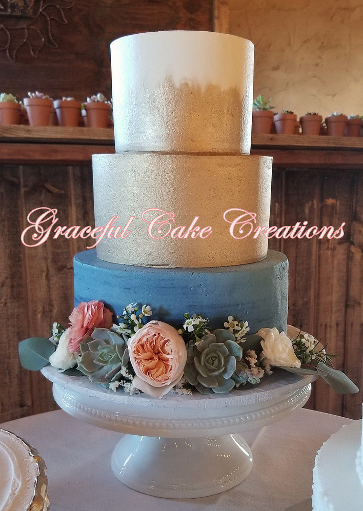 Elegant Slate Blue And Gold Butter Cream Wedding Cake With Flickr