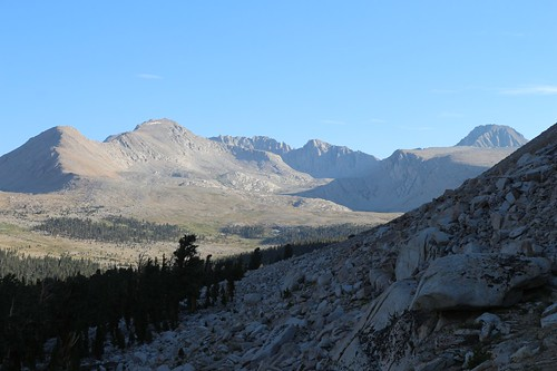 0944 Looking north toward Forester Pass, Caltech Peak, left, and Junction Peak on the far right, from the JMT   by _JFR_