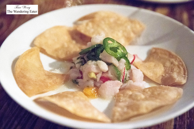 Sea bass ceviche with jalapenos, radish, ginger