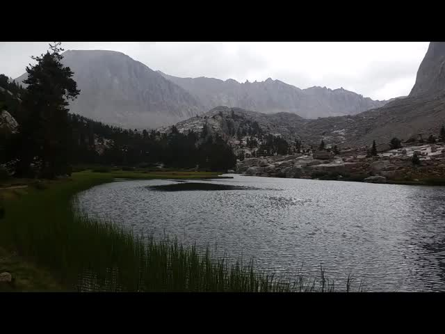 1153 Panorama video of Timberline Lake with a breeze that signaled the end of the afternoon rains, on the JMT