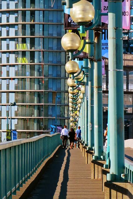 Walking over the Cambie Bridge