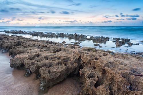 piñones dondeolga torrecillabaja beach rocks sea waves sunset