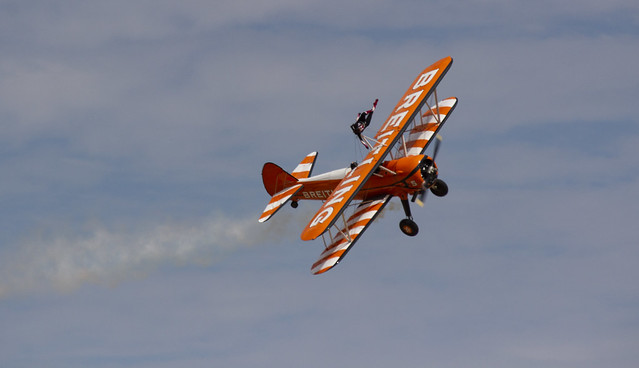 The Flying Circus Wingwalking Team, Shuttleworth Collection Family Air Show, Bedfordshire