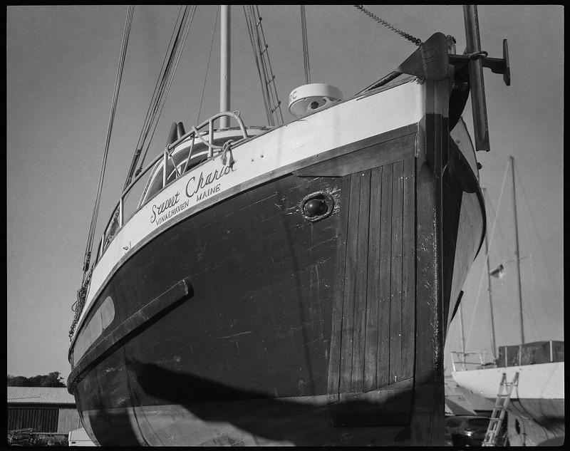Sweet Chariot, Vinalhaven Maine, sailing vessel, boatyard, Rockport, Maine, Koni Omega Rapid 100, Super Omega 90mm f-3.5, Arista.Edu 200, Ilford Ilfosol 3 developer, 7.20.18
