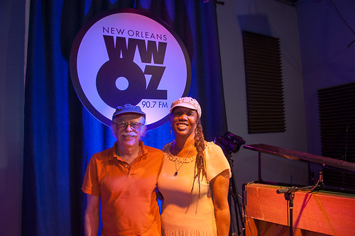 Amasa Miller and Charmaine Neville at WWOZ for Satchmo SummerFest preview week on July 31, 2018. Photo by Michael E. McAndrew.