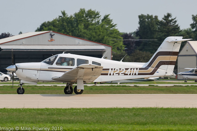 N2241N - 1979 build Piper PA-28RT-201 Cherokee Arrow IV, arriving on Runway 27 at Oshkosh during Airventure 2018