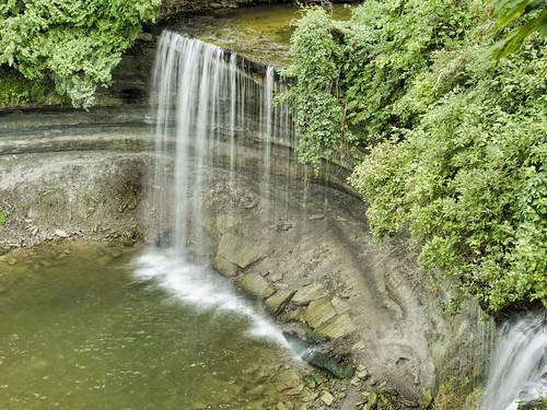 canada olympusm1240mmf28 kagawong ontario ontario540 bridalveilfalls manitoulinisland olympusomdem5markii lakehuron luminar2018 waterfall trees landscape water