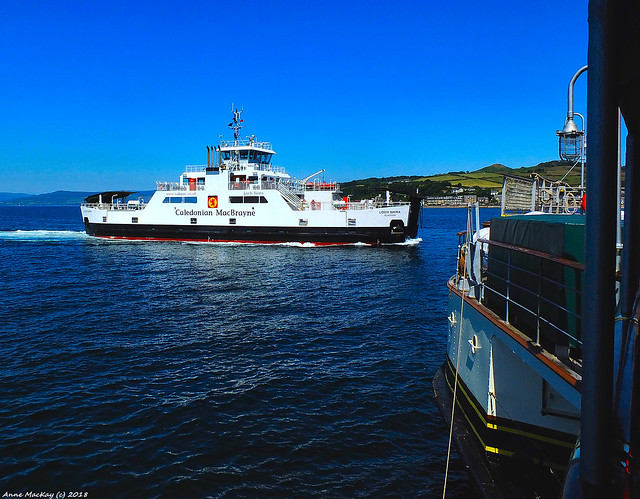 Scotland West Coast car ferry Loch Shira and the paddle steamer Waverley 1 July 2018 by Anne MacKay