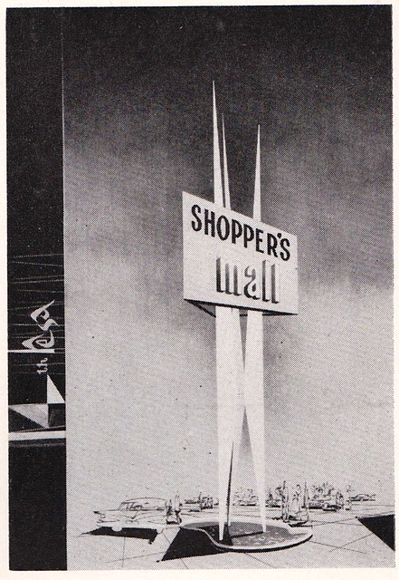 Shopper's Mall Sign Rendering - Designer T. Godwin for Neon Products of Canada - 1960