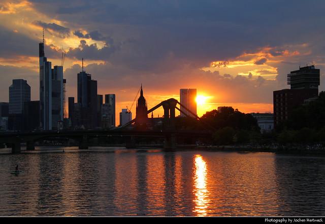Sunset seen from Schaumainkai, Frankfurt, Germany